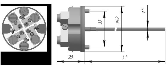 Вставка термометрическая ДДШ5.186.138-42 (ТХА) ДДШ5.186.138-43 (ТХК)