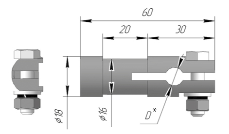 Элемент крепления термопреобразователя ЭКТ 1005 НА Ру 25 МПА