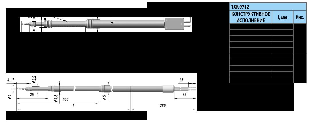 Поверхностные термоэлектрические преобразователи ТХА 9712, ТХК 9712