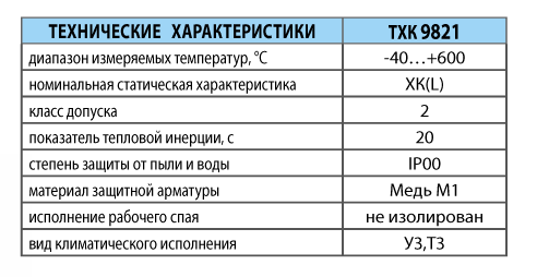 Преобразователи термоэлектрические хромель-копелевые ТХК 9821