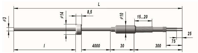 Кабельный линзовый преобразователь термоэлектрический ТХК 9902
