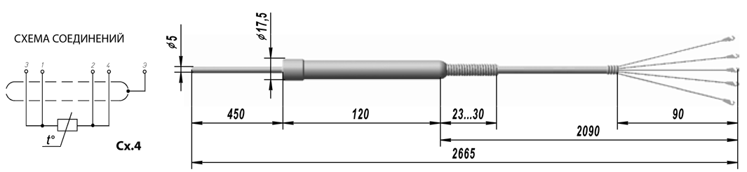 Термопреобразователь сопротивления платиновые ТСП 9807